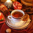 Christmas still life with cup of tea — Stock Photo