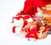 Jul stilleben med en juldekorationer, cookies och p — Stockfoto