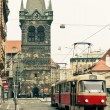 Tram at old street in Prague — Stock Photo #33966279