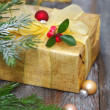 Christmas decoration with present — Stock Photo
