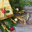 Christmas decoration with present — Stock Photo #35584617