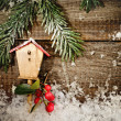 Christmas decoration on wood board — Stock Photo #35584621