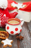 Christmas cookies with hot chocolate — ストック写真