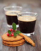 Christmas cookies with coffee — Stock fotografie