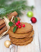 Christmas cookies with Christmas decorations — Stock Photo