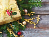 Christmas decoration with present — Foto Stock