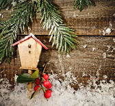Christmas decoration on wood board — Stock Photo