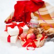 Stock Photo: Christmas still life with Christmas decorations, cookies and p