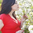 Portrait of beautiful pregnant woman in the flowering spring par — Stock Photo