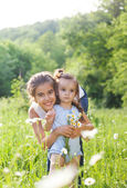 Two happy sisters in the spring field — Foto Stock