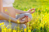 Healthy pregnant woman doing yoga in nature outdoors — Stock Photo