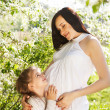 Happy pregnant mother and her little daughter — Stock Photo