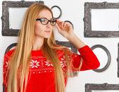 Portrait of the woman wearing black eye glasses — Stock Photo