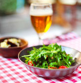 One glass of light beer with salad  — Stock Photo