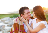 Happy couple in love in summer day. Outdoors portrait — Stockfoto
