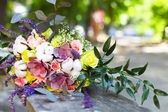 Wedding bouquet with succulent flowers in retro style — Stock Photo