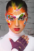 Portrait of a model with bright creative make up — Stock Photo