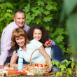Happy young family on autumn picnic — Stock Photo