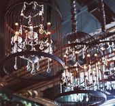Chrystal chandeliers close-up — Stock Photo