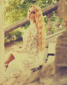 Portrait of a beautiful blond woman — Stock Photo