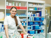 Portrait of pharmacist at the drugstore — Stock Photo