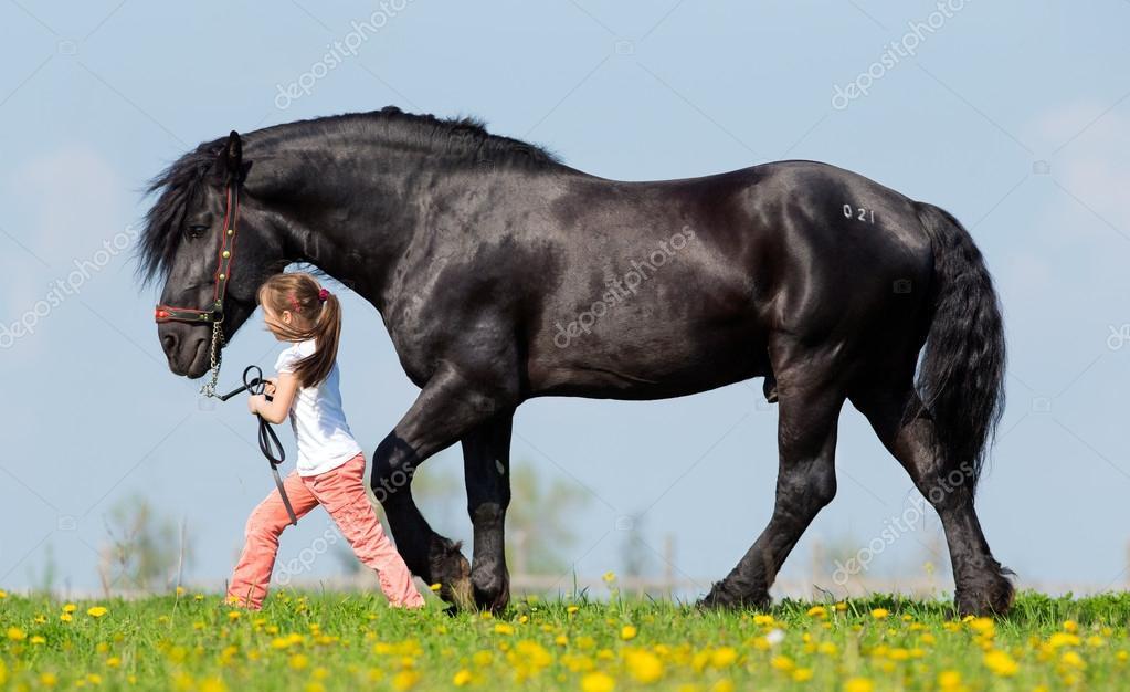 儿童和在春季牧场大黑马— 照片作者 alexia