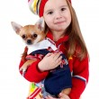 Chihuahua and a little girl — Stock Photo