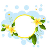 Round frame with tropical flowers — Stock Vector
