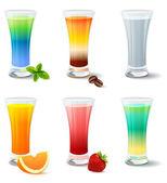 Diferentes cocktails e sucos em branco — Vetor de Stock