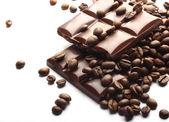 Barras de chocolate y café — Foto de Stock