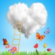 Heart cloud with stairs, flowers and butterflies — Stock Photo