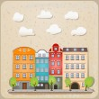 Retro houses as vintage urban illustration — Stock Vector