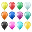 Set of colorful balloons on white — Stock Vector