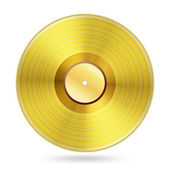 Realistic golden records disc on white — Stock Vector