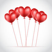 Red balloons made of hearts background — Stock Vector