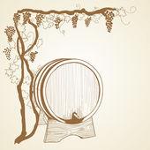 Grapevine and barrel as vintage illustration — Stock Vector