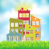 Houses symbols on natural landscape — Stock Vector