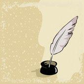 羽毛笔复古背景上 — 图库矢量图片