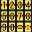 Golden timetable numbers on black - Imagen vectorial