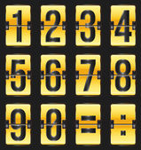Golden timetable numbers on black — Stock Vector