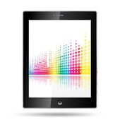 Tablet pc with equalizer colorful lines — Stock Vector