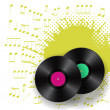 Two vinyls with splash of notes — Imagen vectorial