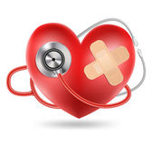 Stethoscope and a heart shape — Stock Vector