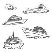 Yacht drawing symbols — Stock Vector