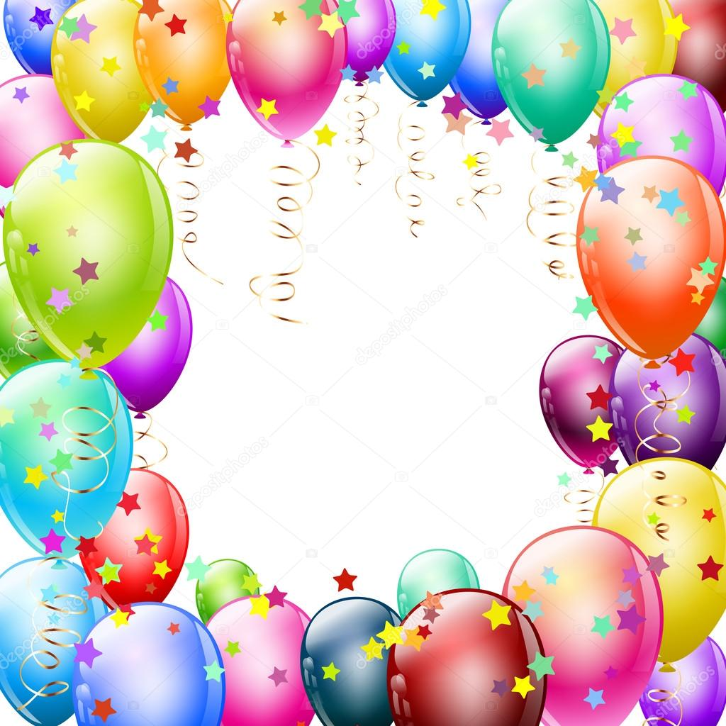 colorful balloons frame with confetti stock illustration