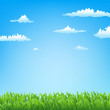 Stock Vector: Spring background with grass and clouds