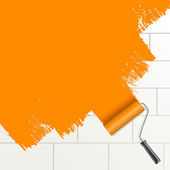 Roller brush painting orange on a wall — Stock Vector