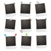 Photo frames with pushpins,paperclips and tape — Stok Vektör
