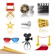 Set of detailed cinema icons - Stock Vector