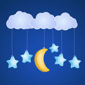 Clouds with hanging stars and moon — Stock Vector